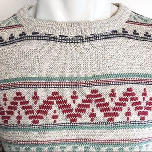 Jantzen Sweaters - JANTZEN Crew Patterned Thermal Lightweight Sweater